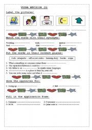 English Worksheets: vocab revision