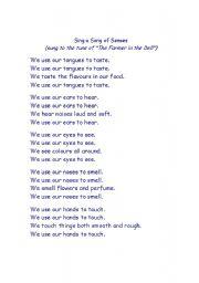 English Worksheet: poem -the 5 senses
