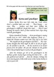 English Worksheets: Karisa and grasshoppers