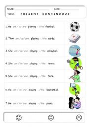 English Worksheet: PRESENT CONTINUOUS (play sport   x   game)