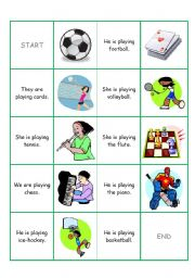 English Worksheet: DOMINO (play sport x game, present continuous)