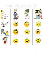English Worksheets: love/like/don�t-doesn�t like/hate+gerund