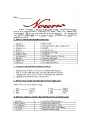 English Worksheets: Definition of nouns and simple exercises about the topic