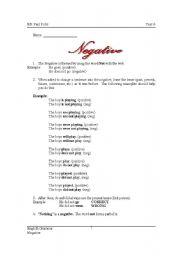 English Worksheets: Negative handout