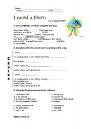 English Worksheet: I need a hero - Song from the film Shrek