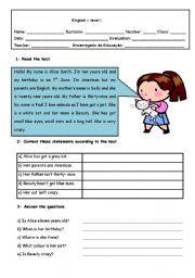 English Worksheet: Test birthdays and pets