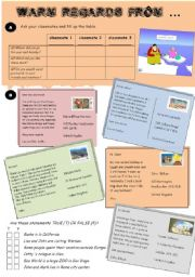 English Worksheet: Postcards, part I.