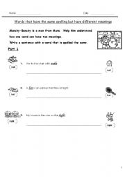 English Worksheets: Words that spell the same 1of3