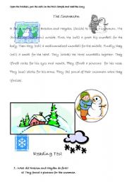 English Worksheet: READING ABOUT SNOWMAN