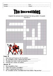 English Worksheets: The Incredibles Crossword Puzzle