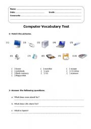 Computer Vocabulary test - ESL worksheet by katisolar
