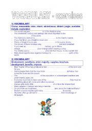 English Worksheet: vocabulary test (holidays, environment, sport)
