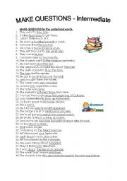 English Worksheets: make questions - intermediate
