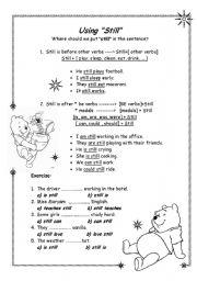 English Worksheets: using still