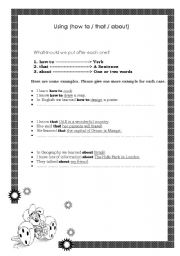 English Worksheets: how to, that, about