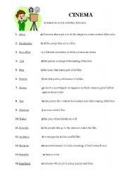 English Worksheet: Cinema vocabulary
