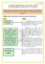English Worksheet: WRITING SKILL: A DESCRIPTION OF A PLACE