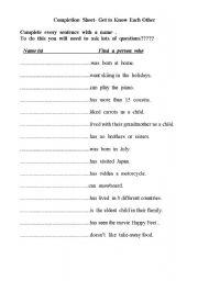 English teaching worksheets: Ice breakers