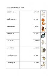 English Worksheets: ..as..as with animals