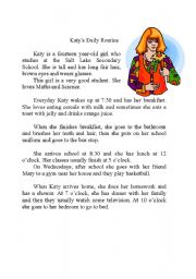 English Worksheets: Katy�s daily routine