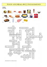 food vocabulary crossword a crossword to practise the vocabulary on ...