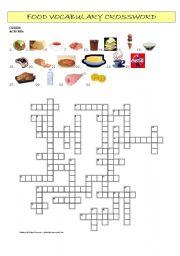 English Worksheet: Food Vocabulary Crossword