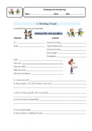 English Worksheets: greeting and introducing