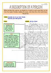 Help on writing essay describing a person