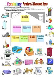 English Worksheet: Furniture & Household Items