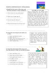 English Worksheets: reading comprehension- differentiation