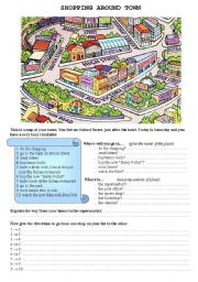 English worksheet: Shopping around town