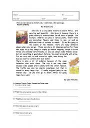 English Worksheet: City life-South Africa