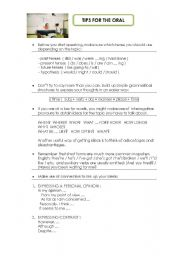 English Worksheet: TIPS FOR THE ORAL EXAM