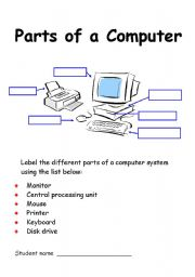 English Worksheet: Parts of a computer labelling exercise