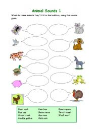 English Worksheet: Animal Sounds 1