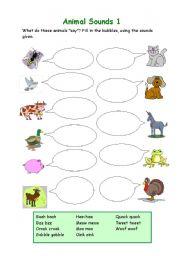 Animal Sounds 1 Esl Worksheet By Ingela