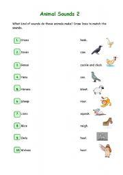 English Worksheets: Animal Sounds 2