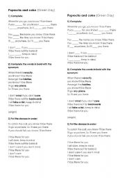 English Worksheets: Poprocks and coke (Green Day)