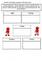 English Worksheet: classify the five senses
