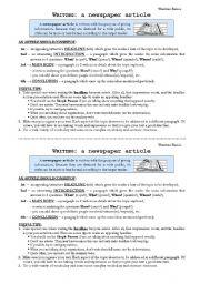English Worksheet: Writing Skills: newspaper article