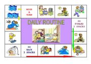 English Worksheet: Daily Routine Board Game