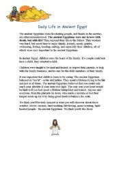 English Worksheet: daily life in ancient egypt