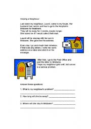 English Worksheets: Helping a neighbour