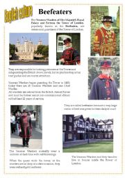 English Worksheets: English culture 4 - beefeaters / Yeoman Warders