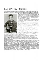 English Worksheet: Elvis Presley, the king