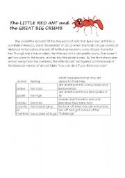 English Worksheets: THE LITTLE RED ANT AND THE GREAT BIG CRUMB