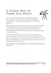 English Worksheets: THOMAS ALBA EDISON