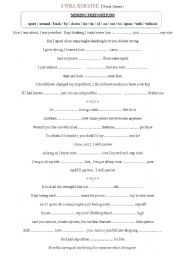English Worksheet: Prepositions song- I will survive