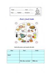 English Worksheet: Meals / food/ drinks