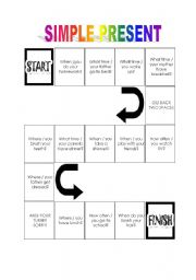 English Worksheet: Board game - Simple present